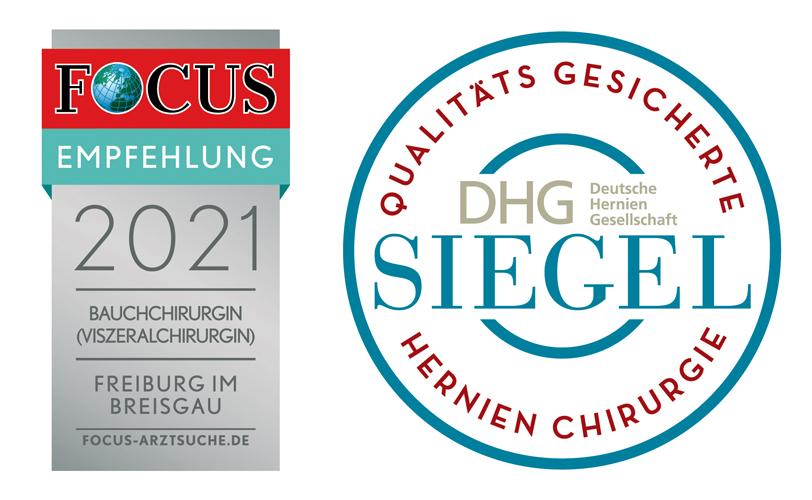 Focus Empfehlung 2021 Bauchchirurgin, Freiburg im Breisagu und DHG Siegel für Hernien Chirurgie